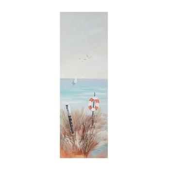 Tablou pictat manual cu ramă din lemn de pin Mauro Ferretti Beach Lifebuoy, 30 x 90 cm de la Mauro Ferretti