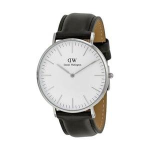 Pánské hodinky s černým páskem Daniel Wellington Sheffield Silver, ⌀40mm