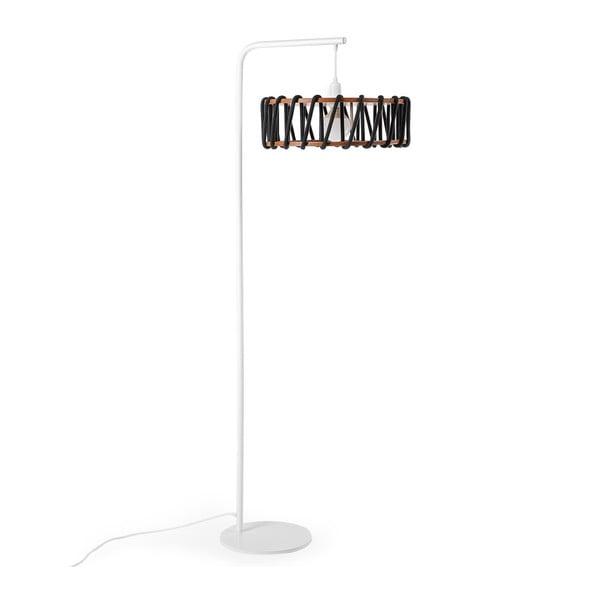 Macaron állólámpa fehér konstrukcióval és nagy fekete lámpabúrával - EMKO