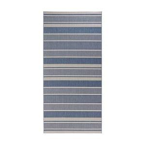 Modrý běhoun vhodný do exteriéru Bougari Strap, 80x200cm
