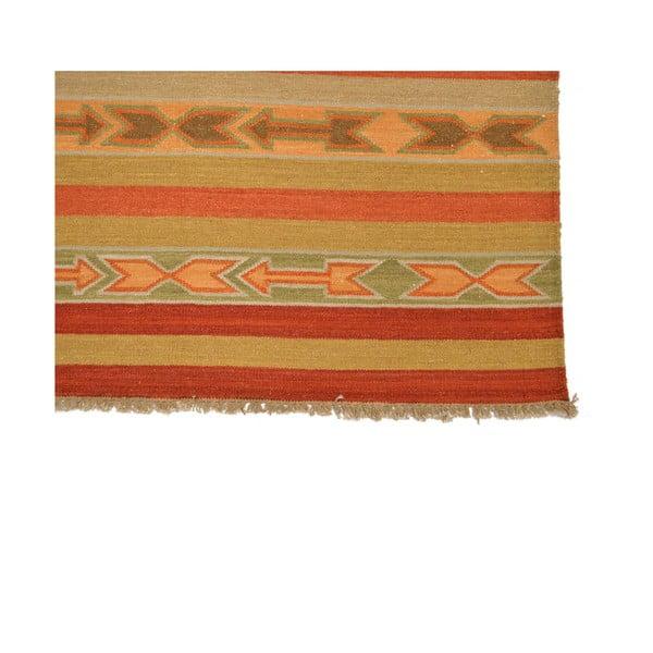 Ručně tkaný koberec Beige Orange Stripes, 140x200 cm