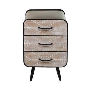Noční stolek z jedlového dřeva a železa se 3 šuplíky Santiago Pons Urban