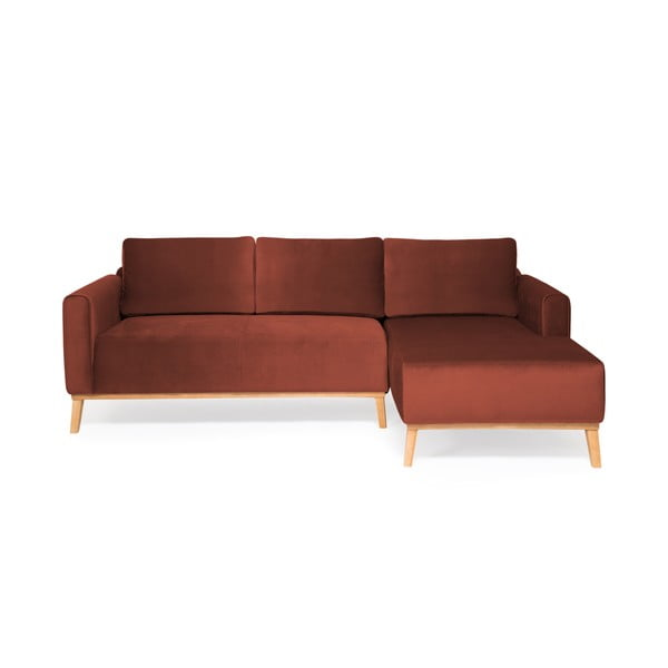 Bordowa sofa 3-osobowa Vivonita Milton Trend, prawy róg