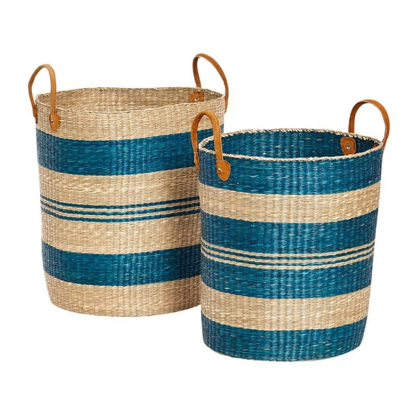 Sada 2 úložných košíků z mořské trávy Hübsch Panduro