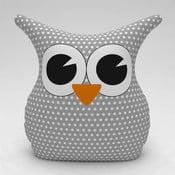 Šedý polštářek Owl Dots