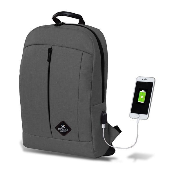 Šedý batoh s USB portem My Valice GALAXY Smart Bag