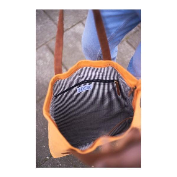 Žluto-hnědá kožená vintage maxi taška O My Bag Lou's