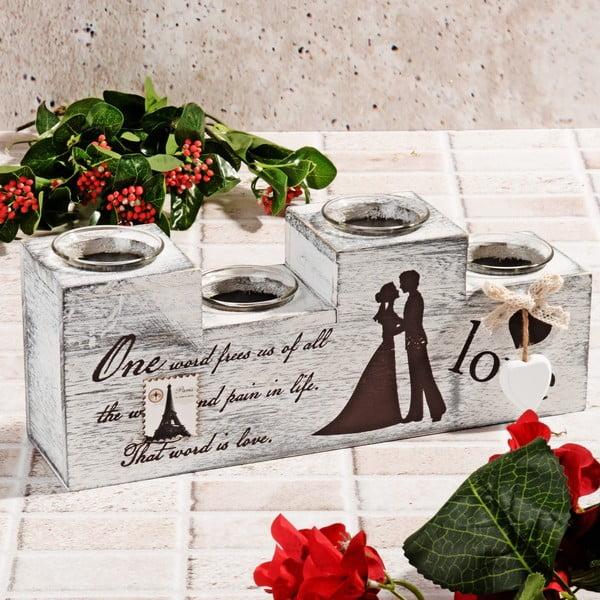 Dřevěný svícen Wedding