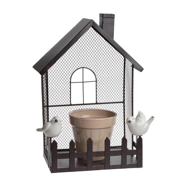 Kovová dekorace s květináčem Flower Pot House
