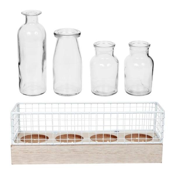 Set 4 vaze din sticlă în cutie decorativă cu LED-uri Le Studio LED Vases