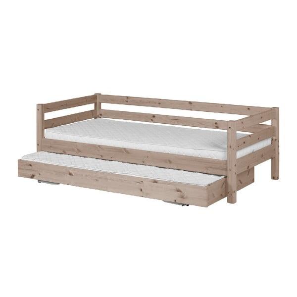 Hnědá dětská postel z borovicového dřeva s výsuvným lůžkem Flexa Classic, 90x200cm