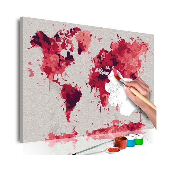DIY set na tvorbu vlastného obrazu na plátne Artgeist Watercolor Map, 60×40 cm