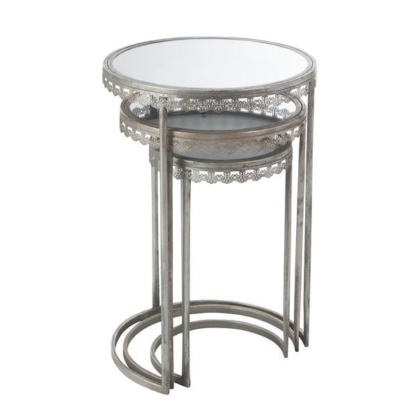 Sada 3 odkládacích stolků se zrcadlovou deskou Mesil