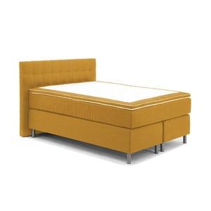 Hořčicově žlutá boxspring postel VivonitaKoso, 140x200cm