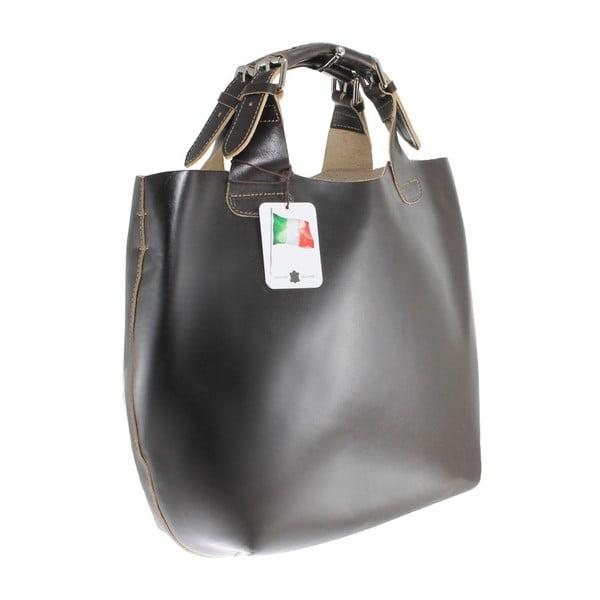 Tmavě hnědá kožená kabelka Chicca Borse Sofia