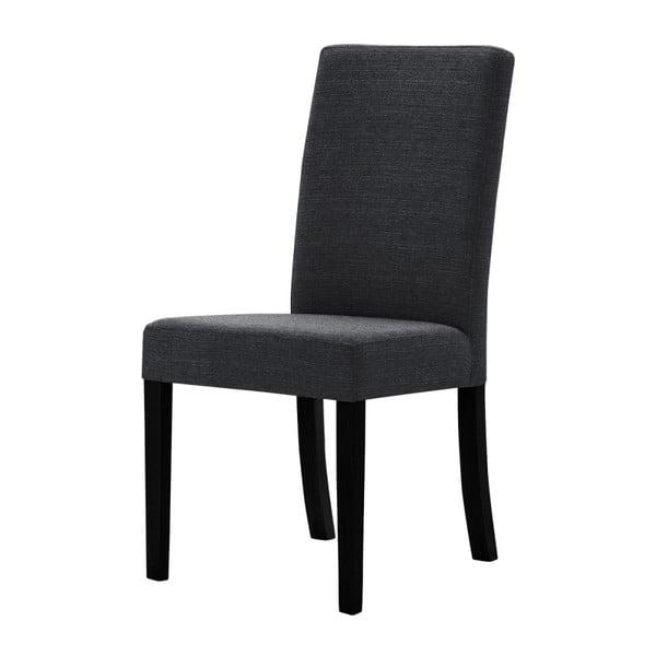 Antracitově šedá židle s černými nohami z bukového dřeva Ted Lapidus Maison Tonka