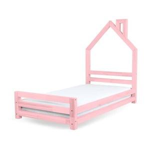 Pat pentru copii din lemn de pin Benlemi Wally, 80 x 160 cm, roz