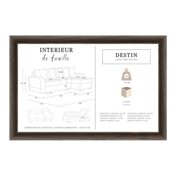 Světle hnědá rohová rozkládací pohovka s úložným prostorem Interieur De Famille Paris Destin, pravý roh