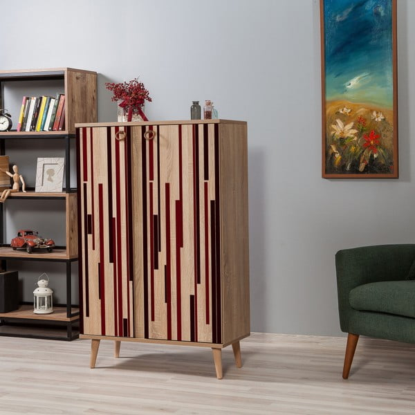 Variabilní dvoudveřová komoda Newbox Red Stripes, 126 x 80 cm