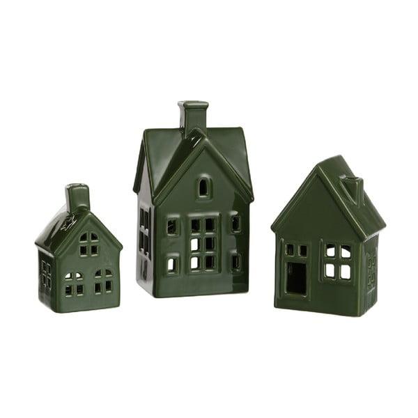 Sada 3 zelených porcelánových domčekov na čajovú sviečku J-Line