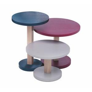 Sada 3 stolků z dubového dřeva Another Brand Tavollini Purple