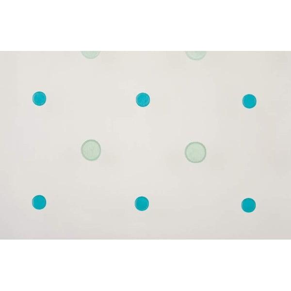 Záclona Venus, bílá s tyrkysovými puntíky