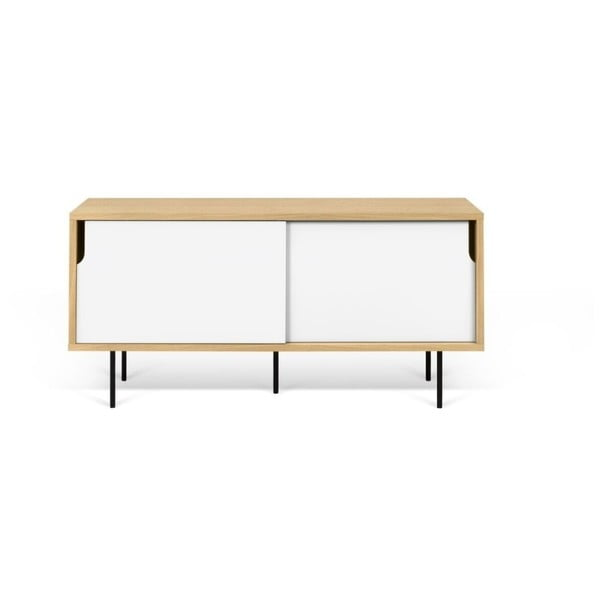 Dann tölgyfamintás TV-állvány fehér részletekkel, hosszúság 135 cm - TemaHome