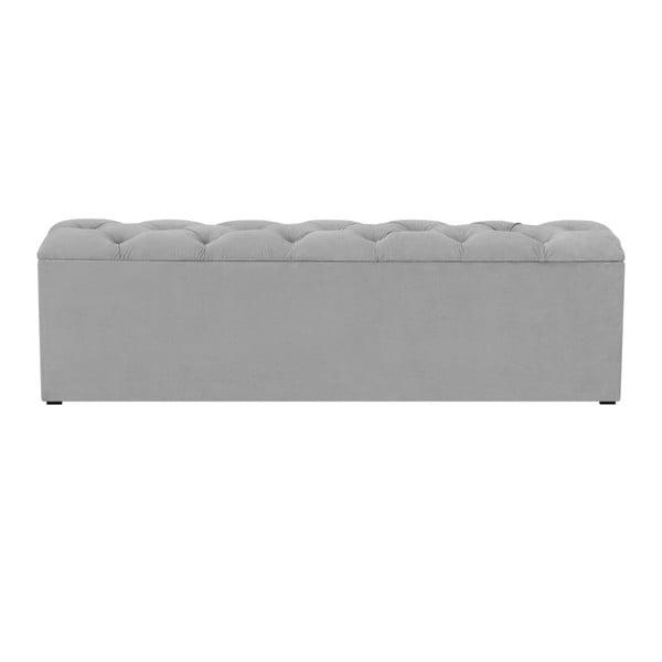 Šedý otoman k posteli s úložným prostorem Kooko Home Manna, 47 x 160 cm