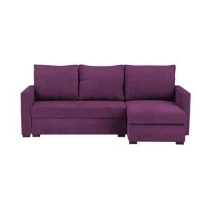 Tmavě fialová třímístná rohová rozkládací pohovka s úložným prostorem Melart Andy