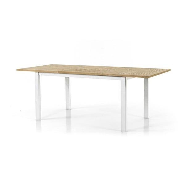 Teakový zahradní stůl s bílým podnožím Brafab Lyon, 152x92cm