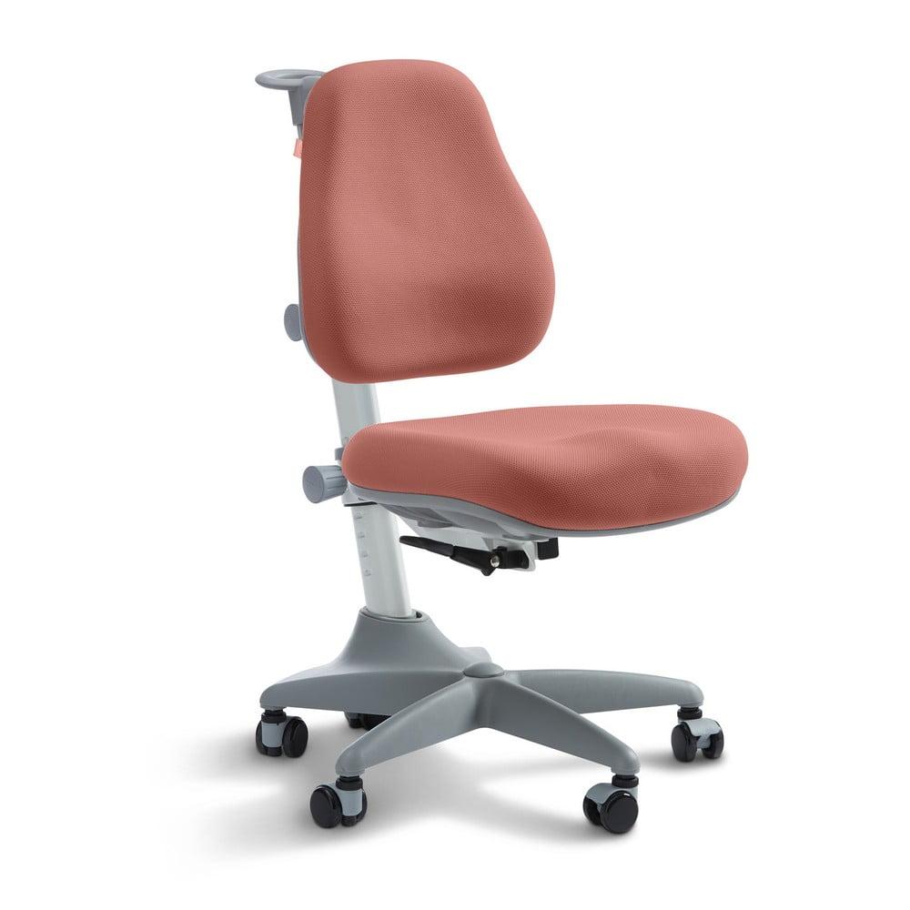 Růžová dětská otočná židle na kolečkách Flexa Verto, 7 - 12 let