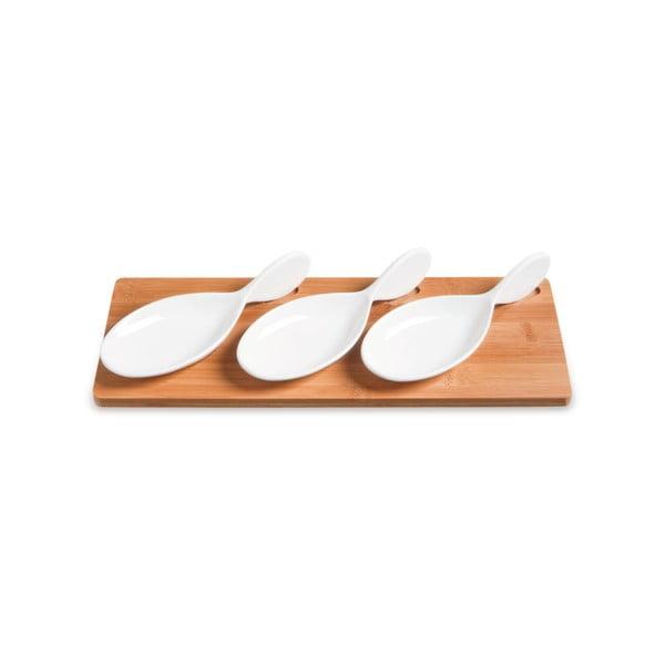 Servírovací misky s bambusovým podnosem Mythos, 33x13 cm