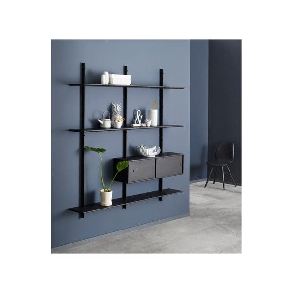 Černá nástěnná skříň k policovým dílům Less WOOD AND VISION Cabinet, 158 x 26 cm