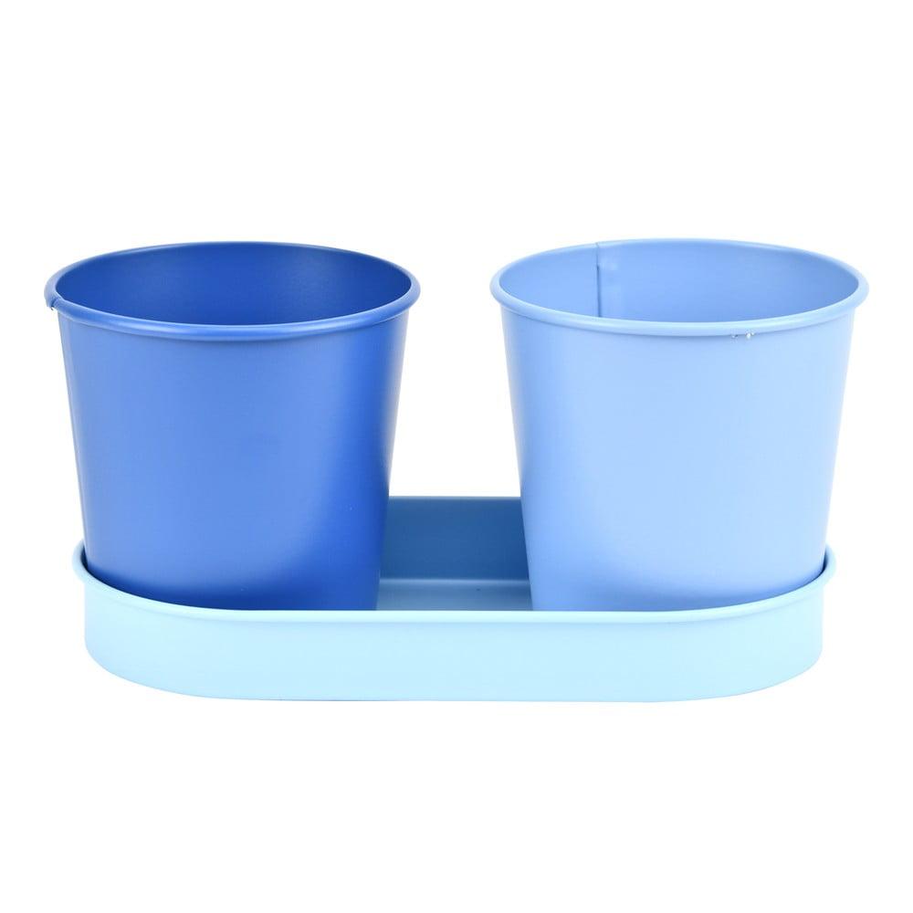 Set 2 kovových květináčů se světle modrým podtáckem Esschert Design Gardener