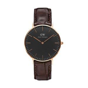 Unisex hodinky s hnědým páskem Daniel Wellington York Rose, ⌀36mm