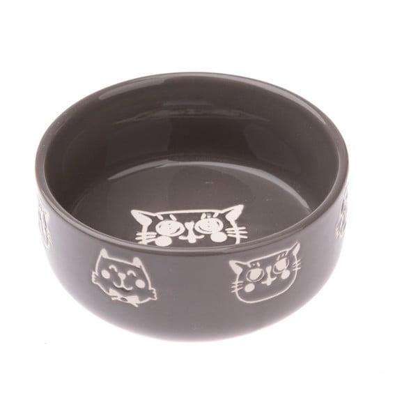 Bol din ceramică pentru pisici Dakls, 300 ml, gri