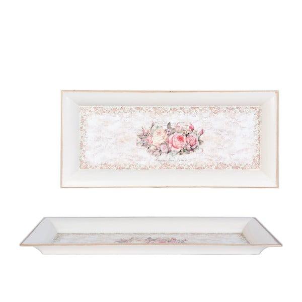 Podnos s růžičkami Clayre, 42x18 cm