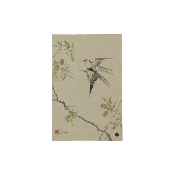 Plakát z ručně vyráběného papíru BePureHome Swallows, 47x32cm
