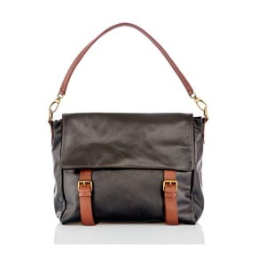 Černo-hnědá kožená taška přes rameno Glorious Black Rosetta