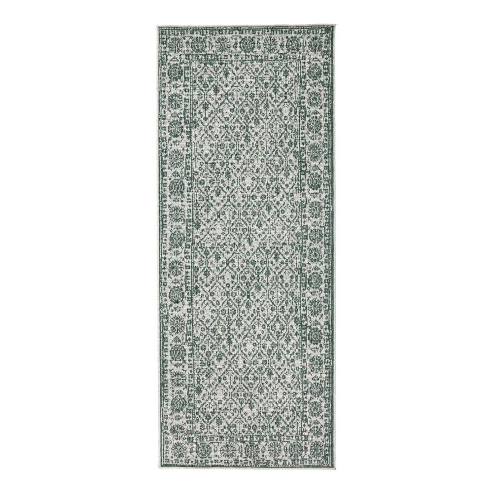 Šedo-zelený vzorovaný oboustranný koberec vhodný i na ven bougari Curacao, 80x150 cm