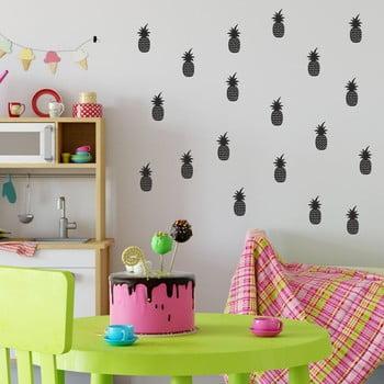 Set autocolante de perete North Carolina Scandinavian Home Decors Pineapple, negru
