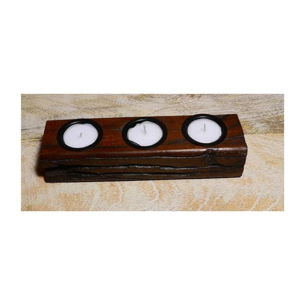 Svícen z mangového dřeva Indie, 23 cm