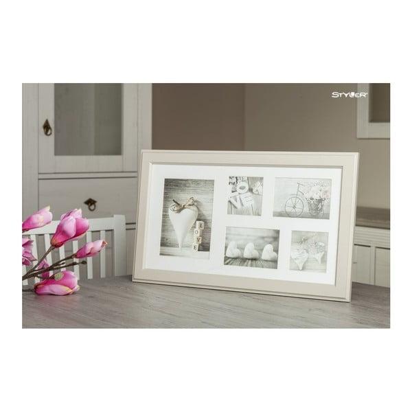 Béžový rámeček na 5 fotografií Styler Malmo, 27x51cm