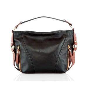 Černo-hnědá kožená kabelka Glorious Black Lane