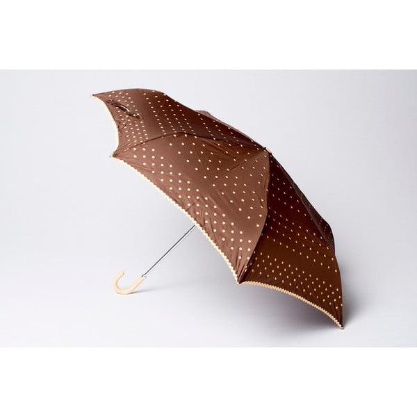 Skládací deštník Dots, hnědý