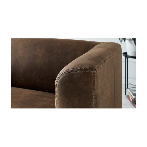 Canapea cu 3 locuri Bobochic Paris Django Preston, maro