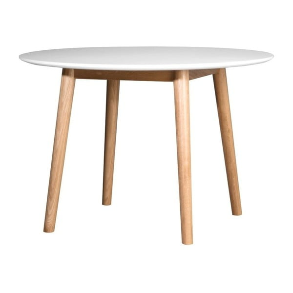 Eelis fehér étkezőasztal tölgyfa alappal, ⌀ 110 cm - We47