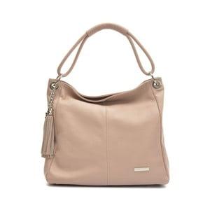 Růžovobéžová kožená kabelka Anna Luchini Magdana