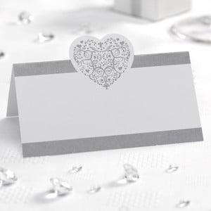 Set 50 carduri masă pentru nume Neviti Vintage Romance, alb argintiu