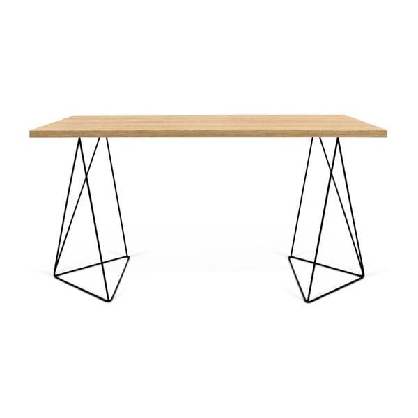 Pracovní stůl v dekoru dubového dřeva s černými nohami TemaHome Flow, 75 x 140 cm